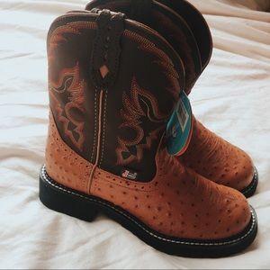 NWT Ostrich Skin Justin Boots
